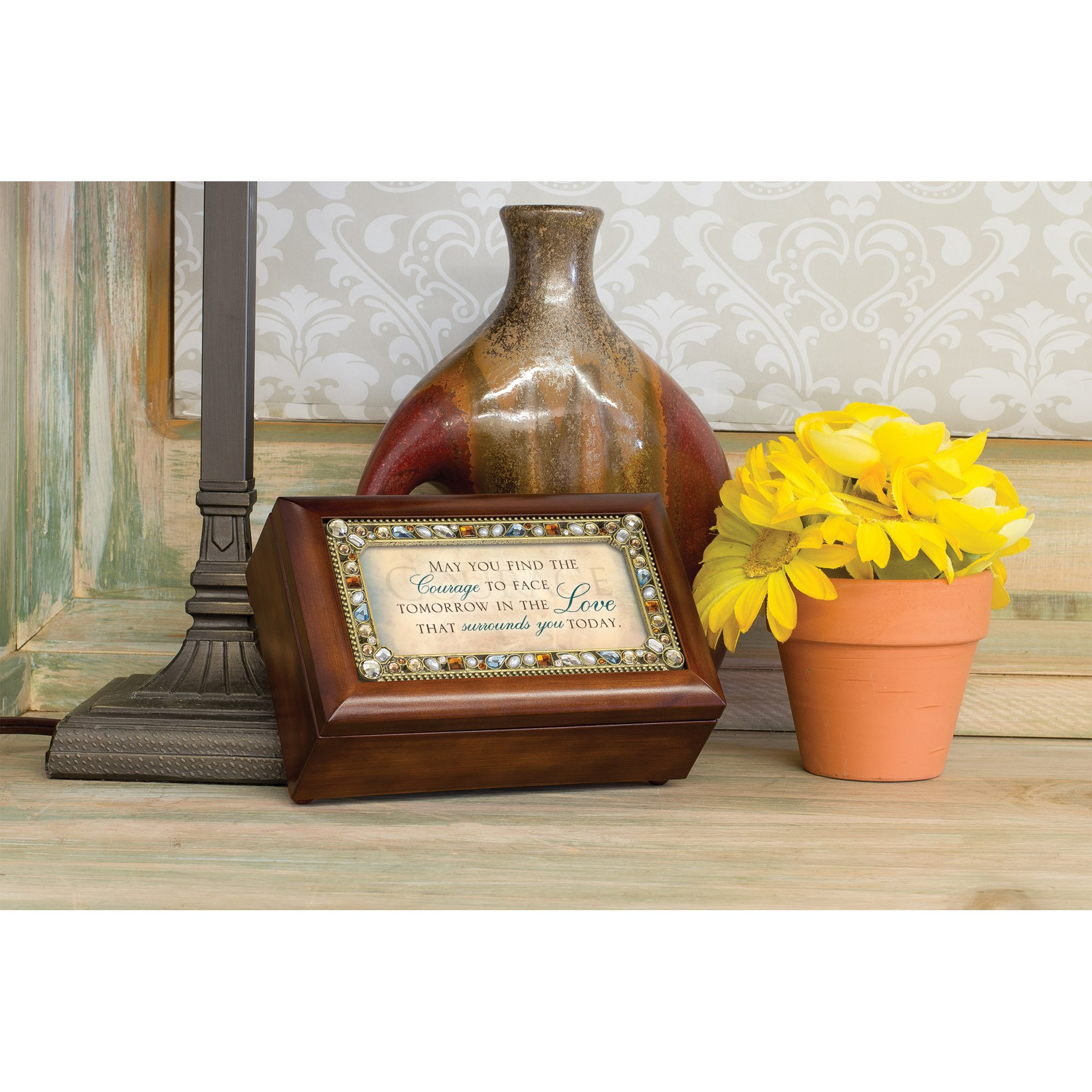 May You Find The Courage Jeweled Woodgrain Jewelry Music Box - Plays Tune Wind Beneath My Wings by Cottage Garden (Image #5)