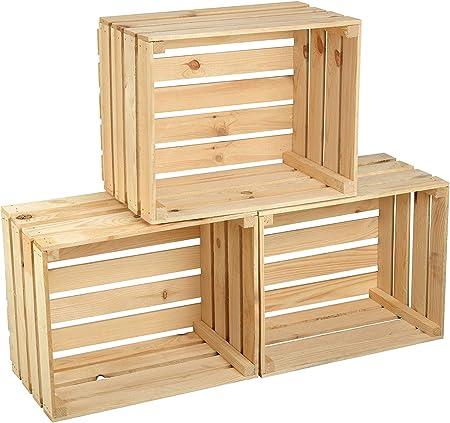 GrandBox Cassette Set 4 Natural-Box in Legno Naturale per stoccare Frutta Verdura Casse per Legna da ardere Casse per Vino Vintage Shabby Chick