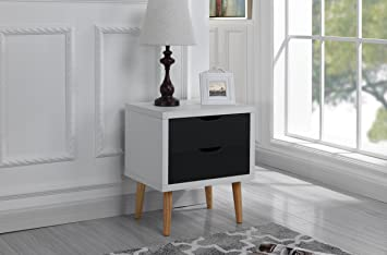 Merveilleux Mid Century Modern Nightstand / Side Table With 2 Drawers (White / Dark  Grey)