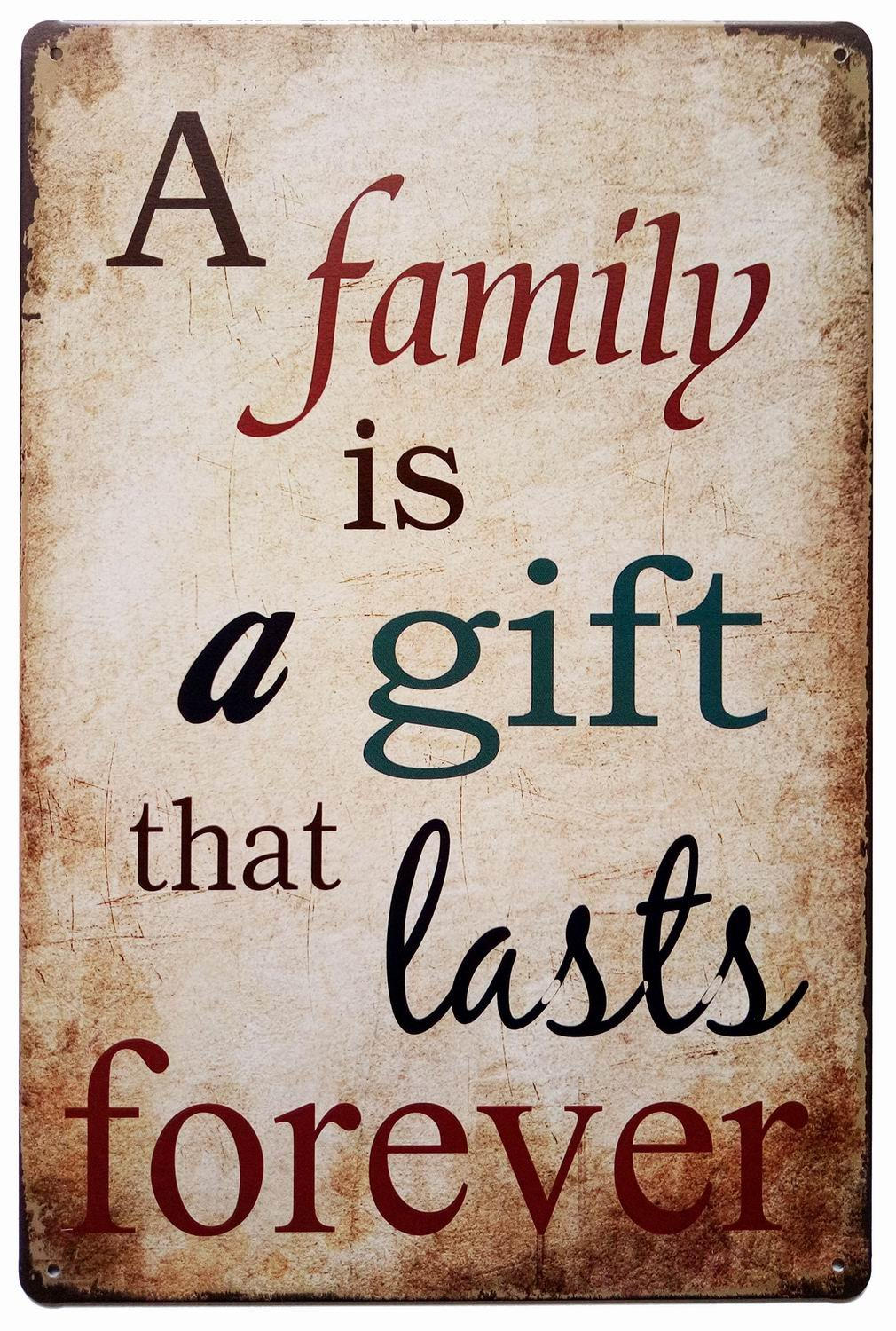 ERLOOD A Family is a Gift That Lasts Forever Vintage Tin Sign Wall Decor 20 X 30 cm China 1352