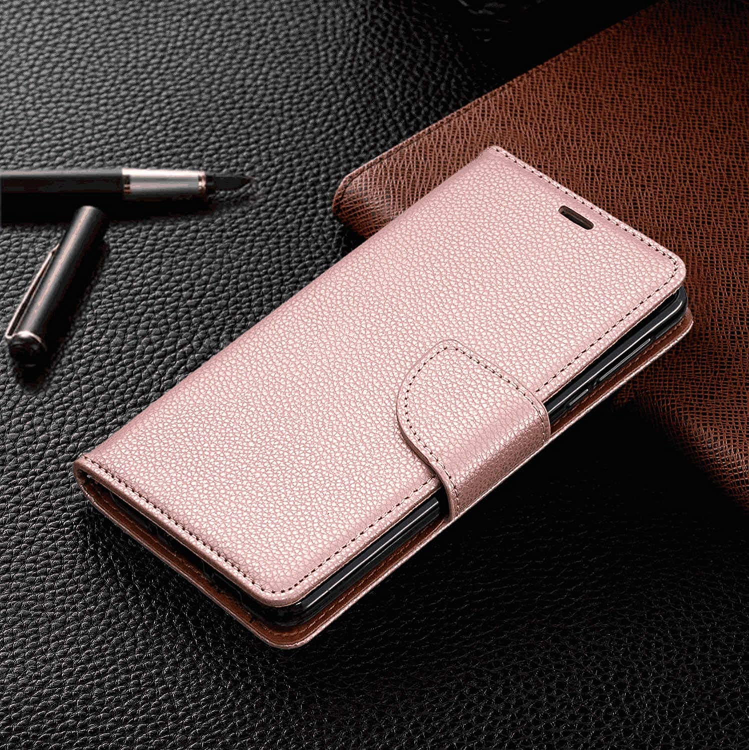 iPhone 8 Flip Case Cover for iPhone 8 Leather Kickstand Mobile Phone Cover Extra-Shockproof Business Card Holders with Free Waterproof-Bag Absorbing