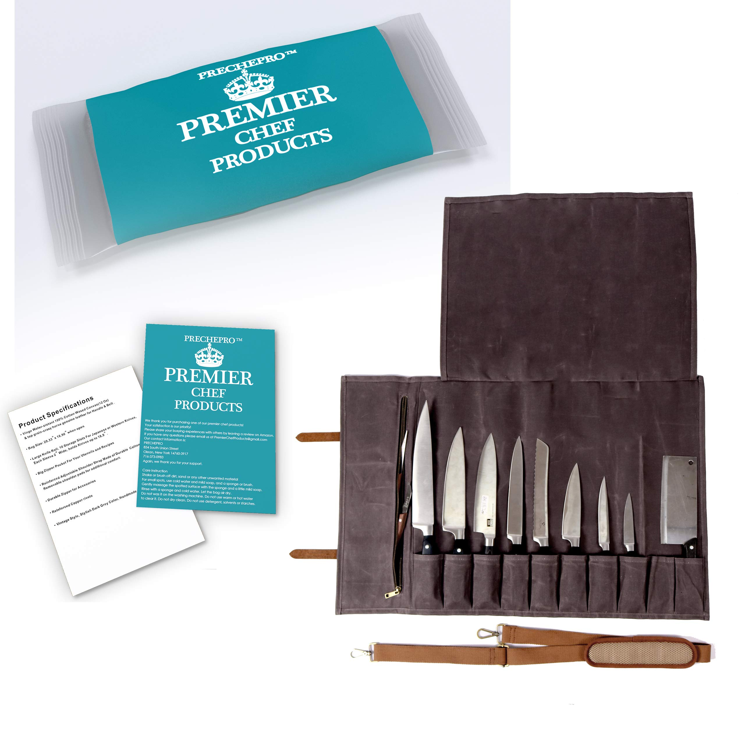 Chef Knife Bag - Leather Knife Roll Bag For Chefs - Knife Bag For Chefs by Prechepro (Image #1)