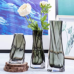 TOBERGO Exquisite and Small Hurricane Glass Flower Vase Set of 3, Clear Grey Vases Decorative for Home Living Room Decor Mantel Fireplace Bookshelf Office Coffee Table Decorations and Gift (Grey)
