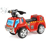 Toyrific Children's Electric Ride on Fire Engine with Bubble Gun, Lights and Sounds