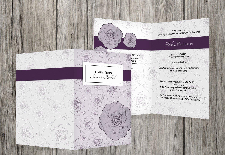 mejor moda Tarjeta de luto Rose Mar, dunklesLavendelLila, 50 50 50 Karten  Tienda 2018
