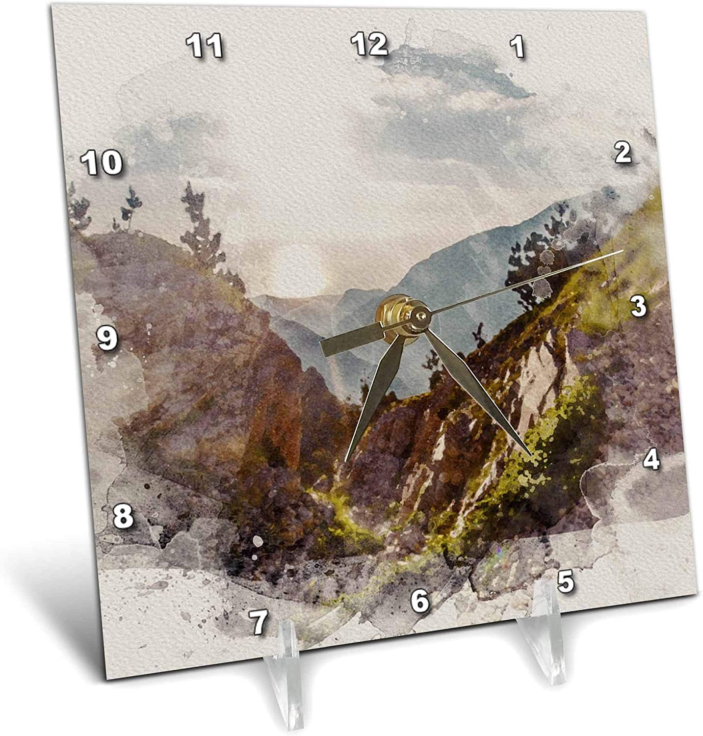 3dRose Image of Watercolor Sunset Rocky Mountain Cliff Scene Art - Desk Clocks (dc_328927_1)