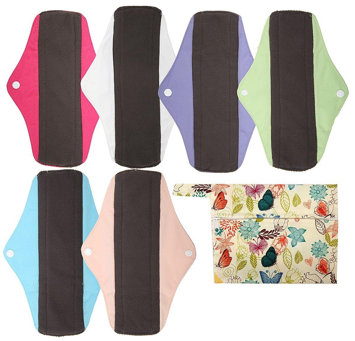 6pcs 10 Inch Regular Charcoal Bamboo Mama Cloth// Menstrual Pads// Reusable Sanitary Pads by Hibaby 7pcs Set 1pc Mini Wet Bag