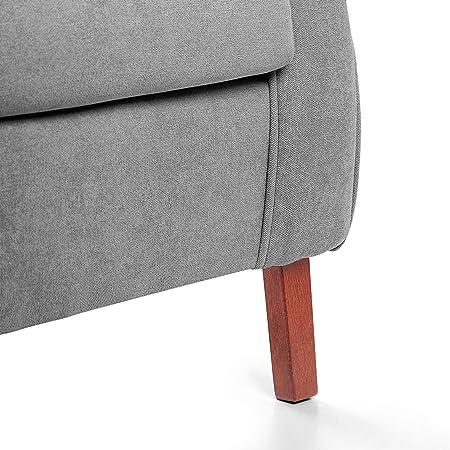 SUENOSZZZ-ESPECIALISTAS DEL DESCANSO Sillon orejero Carla (Sillon Lactancia) Sillón tapizado en Tela Antimanchas Color Gris. Sillon butaca para Dormitorio, Salon o habitacion de Bebe