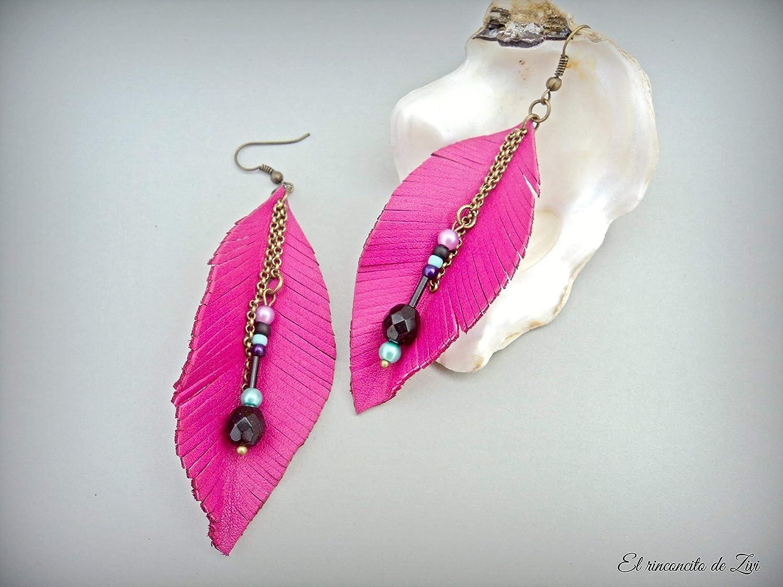 Amazon.com: Leather feathers fuchsia earrings, leaf leather ...