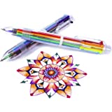 Multicolor Pens - 6-in-1 Retractable - 12 Pack of 6-in-1 Ballpoint Pens - 6 Vivid Colors in Every Pen - 0.5 mm - Best for Smooth Writing