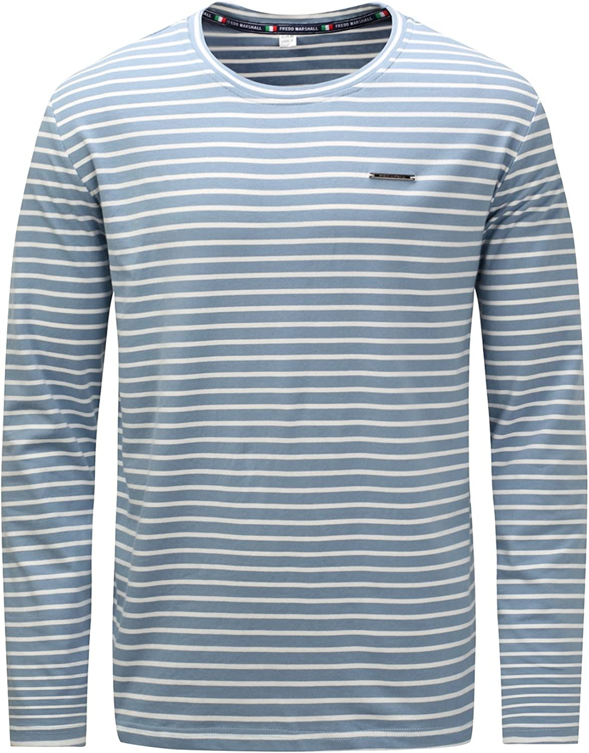 IYFBXl and Winter Coat Large Size Mens Striped Round Neck Long-Sleeved Shirt FM717-2