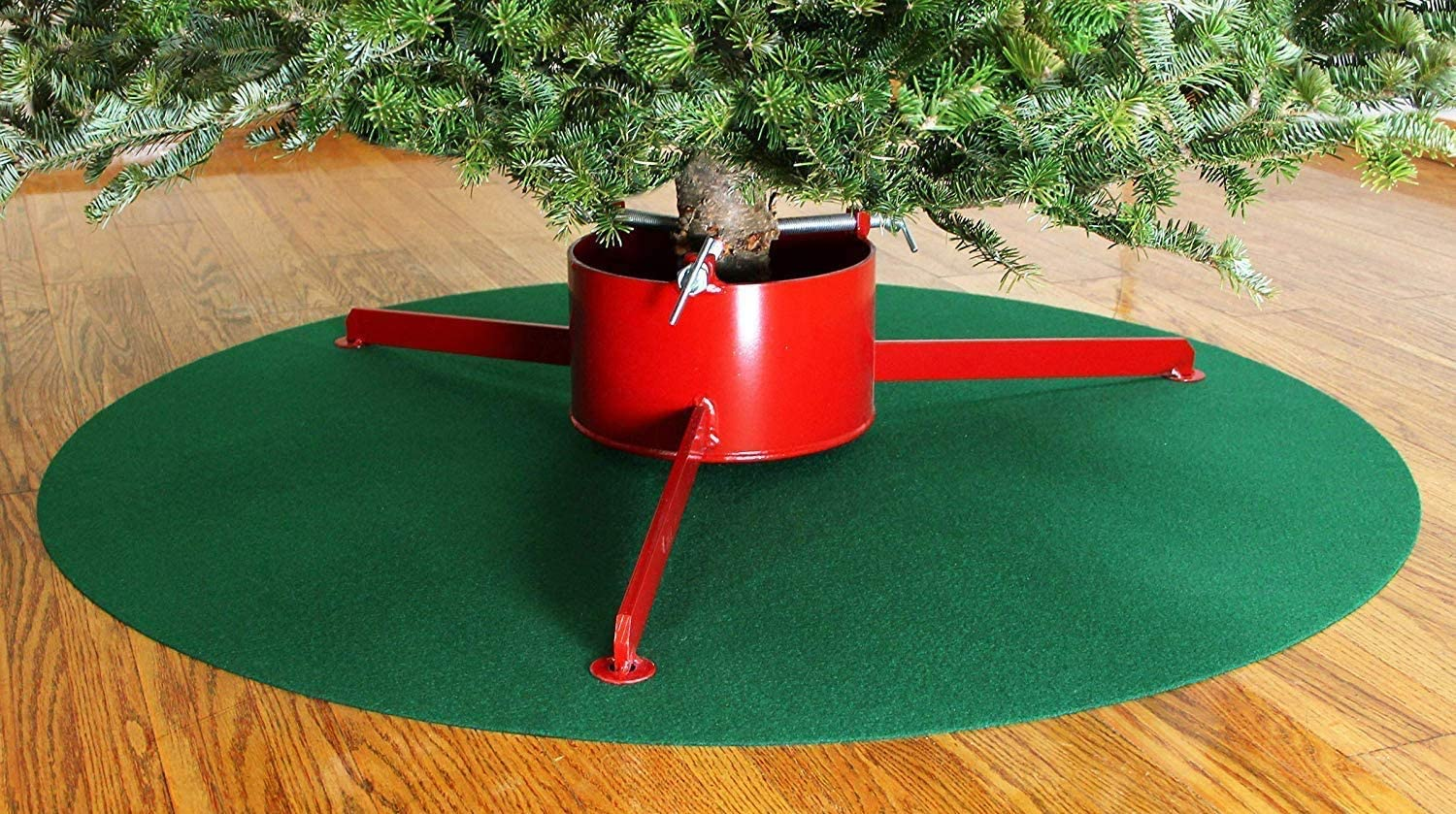 Alonsoo 42 Reversible Waterproof Christmas Tree Stand Mat Accessory for Floor Protection Christmas Tree Skirt Red and Green