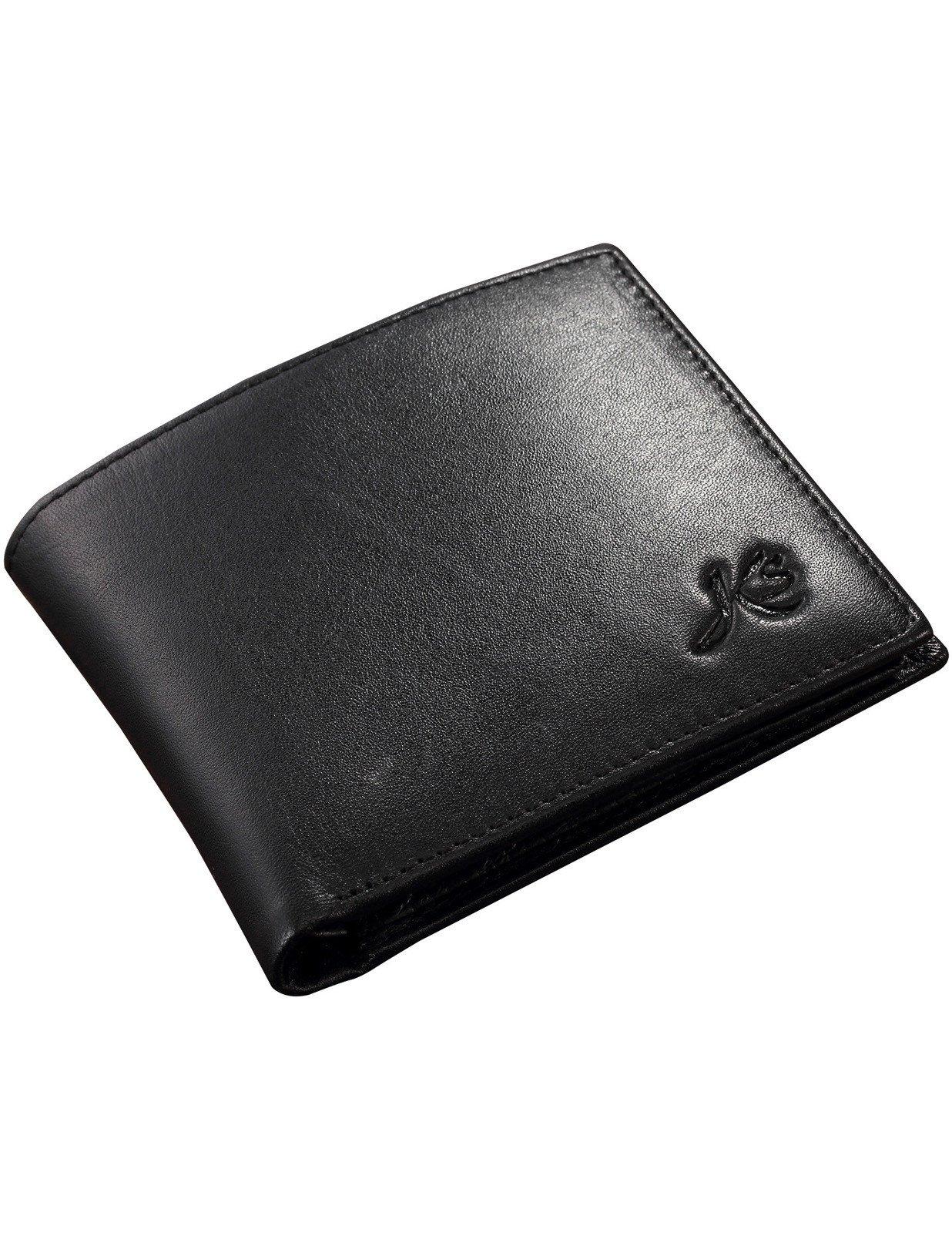 KS New Black Mens Slim Leather Pocket Purse Card Holder Biford Wallet KB007