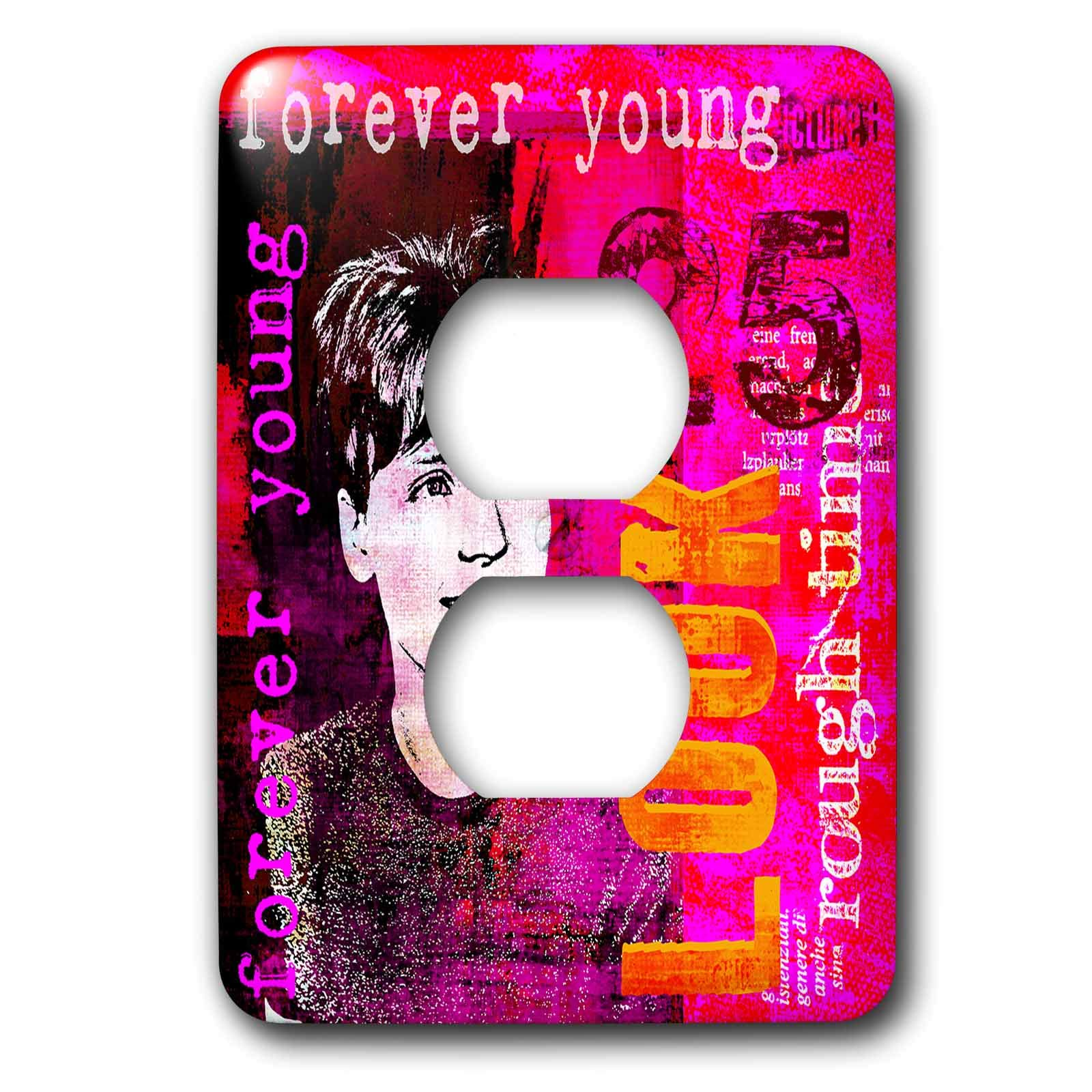 3dRose Andrea Haase Art Illustration - Retro Women Mixed Media Art With Text Elements - Light Switch Covers - 2 plug outlet cover (lsp_289341_6)