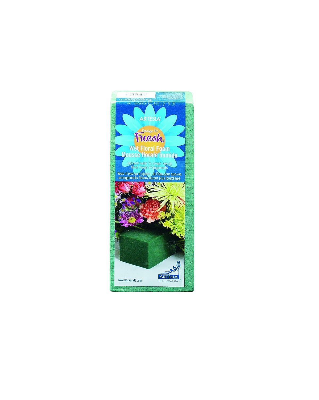 FloraCraft Floral Wet Foam 4 Piece Brick 2.8 Inch x 3.8 Inch x 8.8 Inch Green