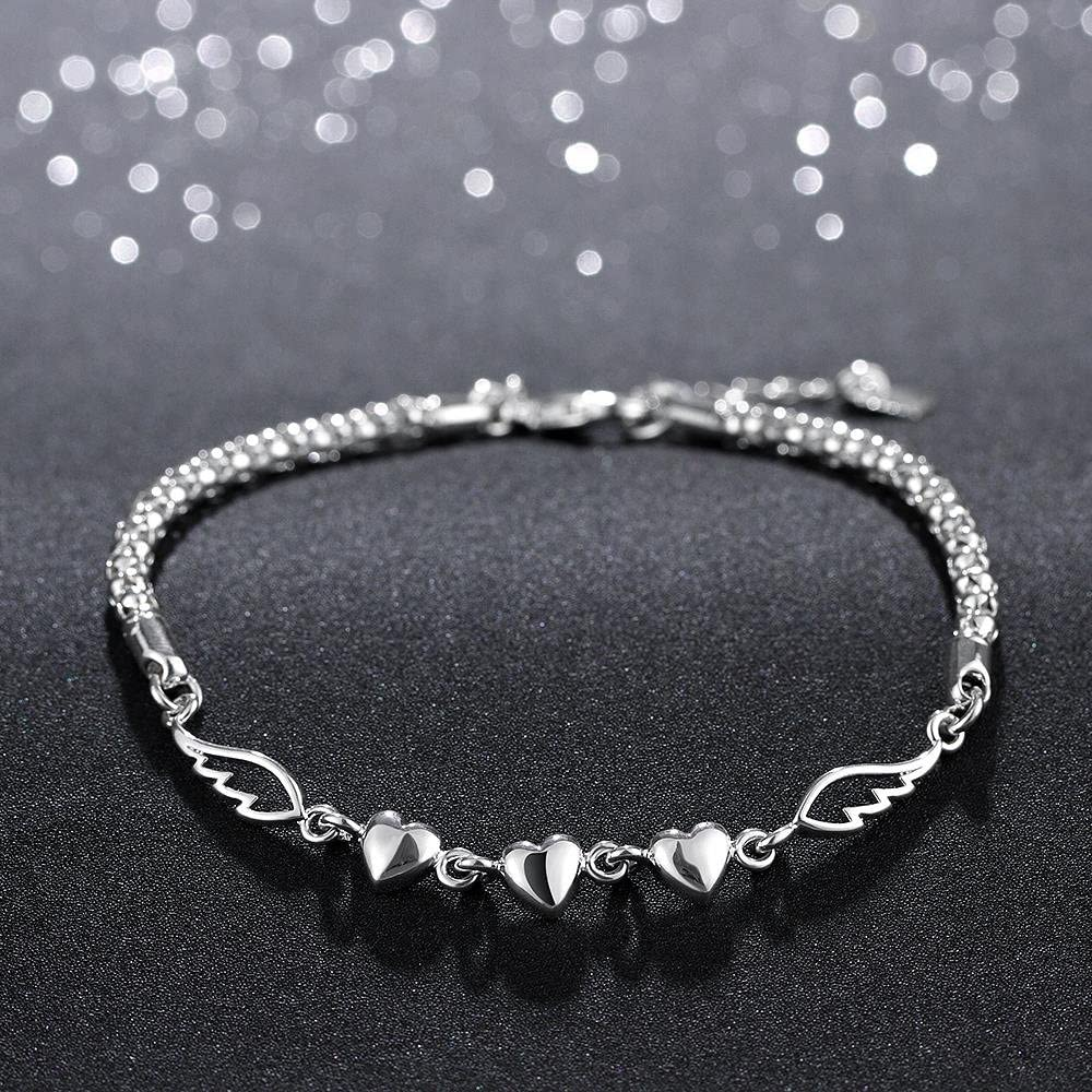 Fashion Love Heart Bangle Bracelet Girl Popular Jewelry Silver Plated