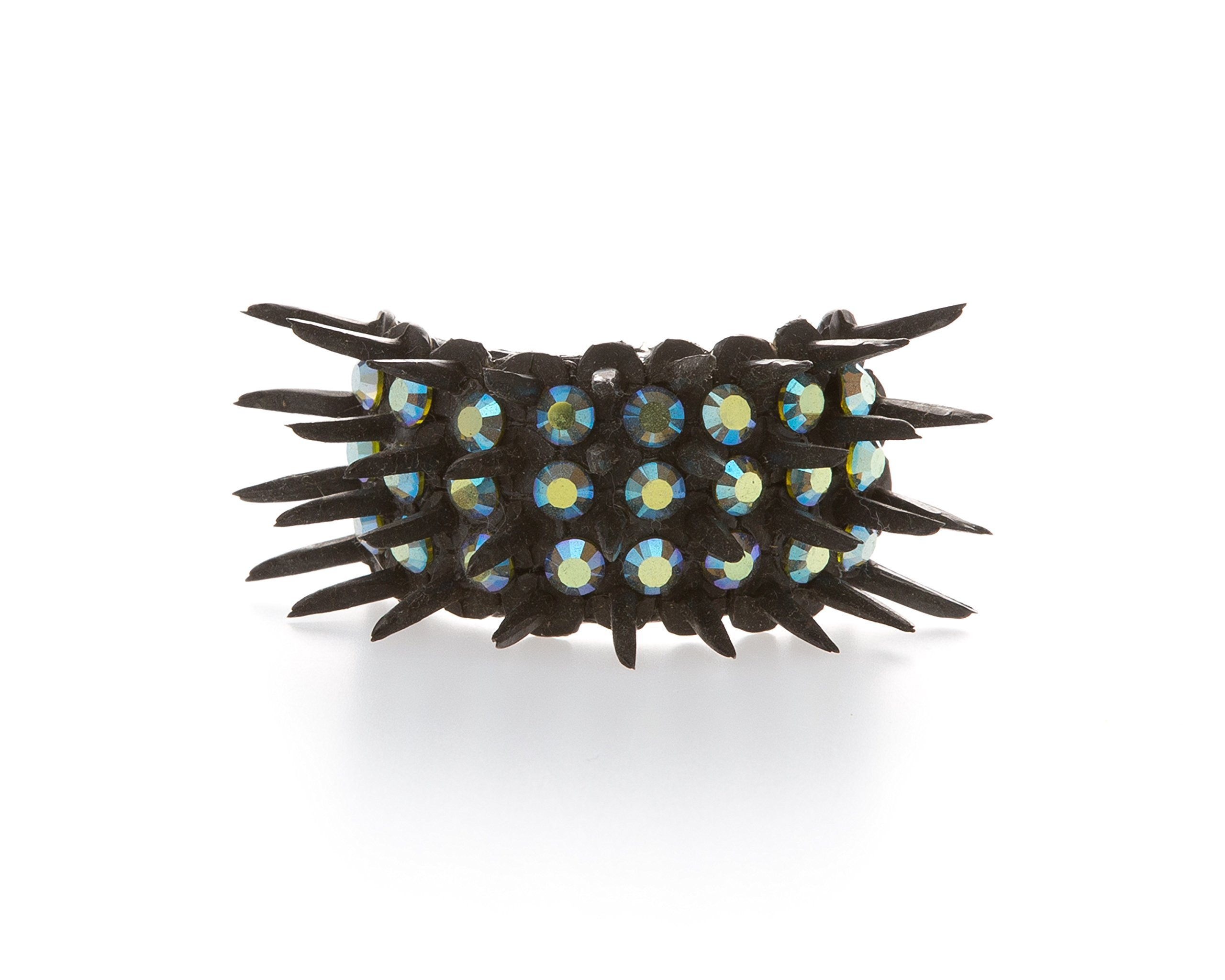 Edgy & Funky Black Spiked Ponytail Holder with Genuine Iridescent Turquoise Swarovski Crystals