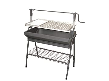 Barbacoa Metalica con Parrilla y Plancha 100cm INOX: Amazon ...
