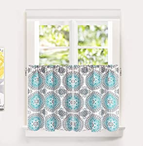 DriftAway Bella Medallion Pattern Kitchen Tier Rod Pocket Window Curtain Set of 2 Each Size 29 Inch by 24 Inch Plus 2 Inch Header Aqua and Gray