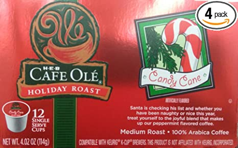 HEB Cafe Ole Holiday Roast Single Serve Coffee Cups 12 Per Box - Medium Roast (Pack of 4 Boxes - 48 Cups) Select Flavor Below (Candy Cane - ...
