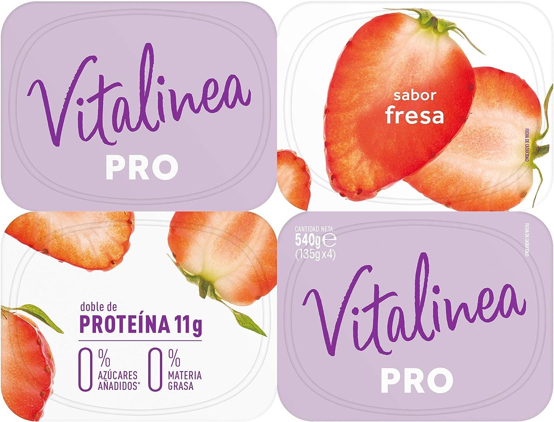 Vitalinea Proteina Leche Fermentada Sabor Fresa con Queso Fresco, 4 x 135g