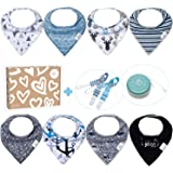Baby Bandana Drool Bibs for Boys - 8 Pack Teething Blue Baby Bibs + 1 Multifunctional Case, Best Baby Shower/Registry Gifts Set for Boys 0-24 Months by Bossy Sassy