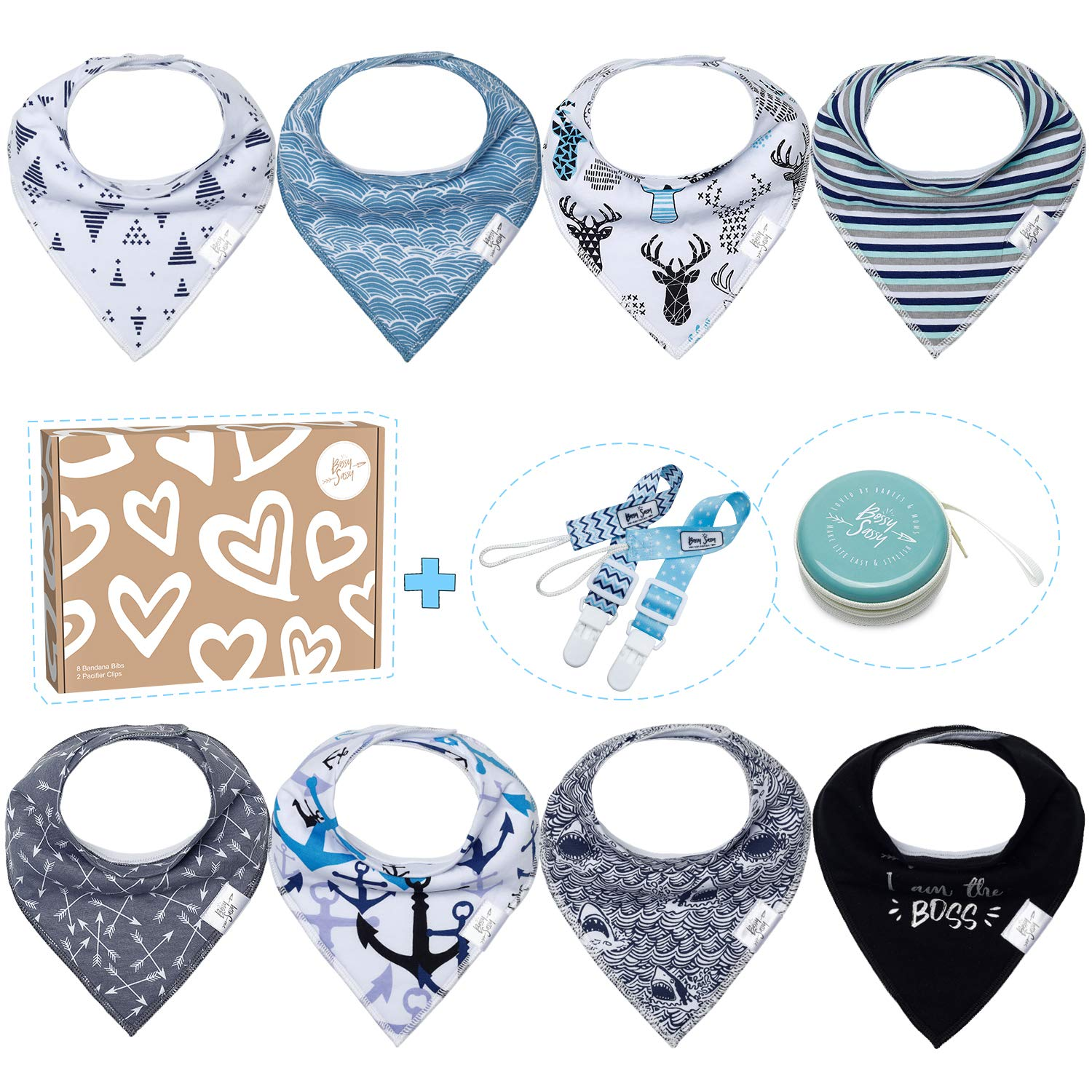 Baby Bandana Drool Bibs for Boys - 8 Pack Teething Baby Bibs + 1 Multifunctional Case, Best Baby Shower/Registry Gift Set for Boys by Bossy Sassy