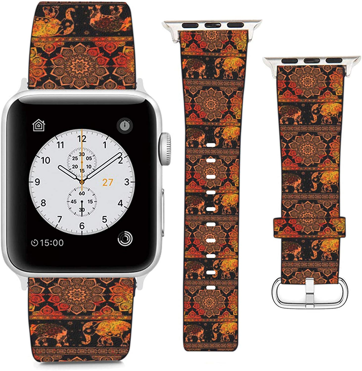 Compatible with Apple Watch Wristband 42mm 44mm, (Tribal Mandala and Elephant Stripe Pattern) PU Leather Band Replacement Strap for iWatch Series 5 4 3 2 1