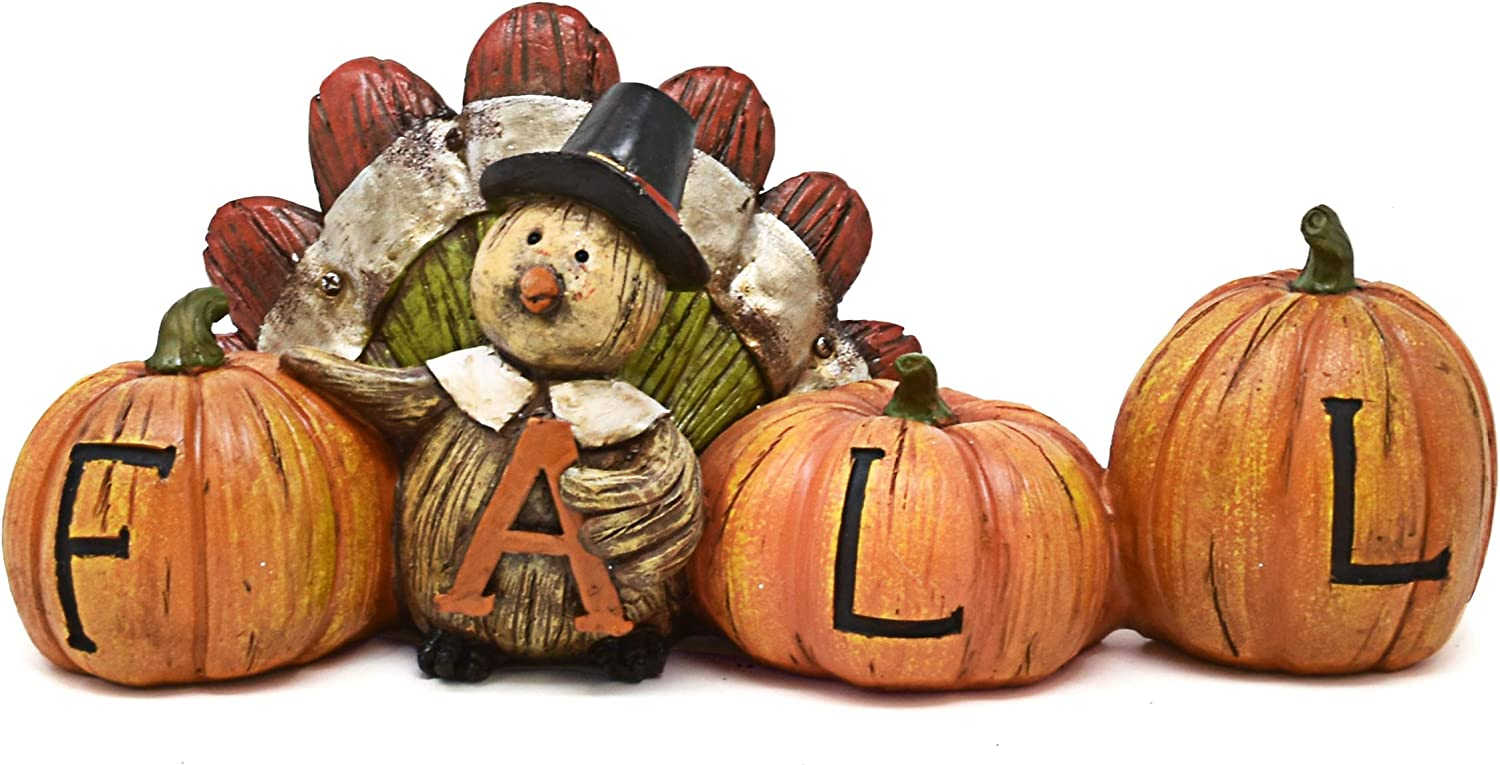 Thanksgiving Decorations Fall Turkey Pumpkin Table Topper Figurine Centerpiece Harvest Autumn Resin Tabletop for Outdoor Indoor Fireplace Mantle Desk Shelf Kitchen Living Room Home Party Decor