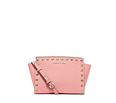 Image Unavailable. Image not available for. Color  MICHAEL KORS Selma  Medium Studded Saffiano Leather Messenger PALE PINK 4bd48f7394