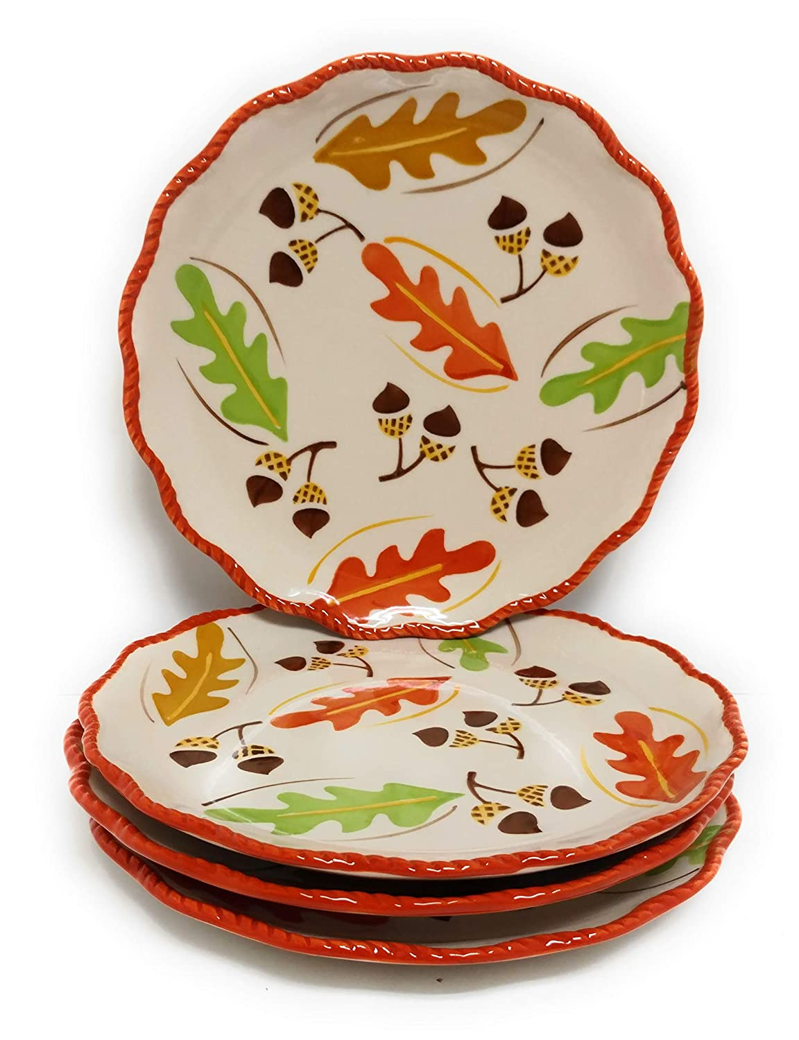 Temp-tations Set of 4 Hand Painted Stoneware Salad/Dessert Plate (Old World Harvest)