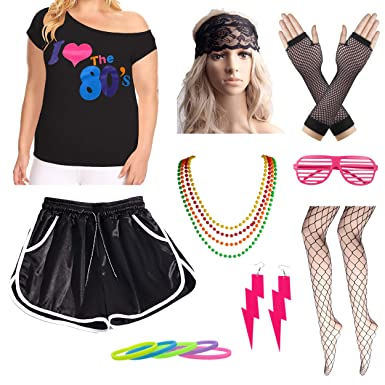 a33fa72f6d7 Amazon.com: Womens Plus Size I Love The 80s T-Shirt with Shorts Costume  Accessory Set: Clothing