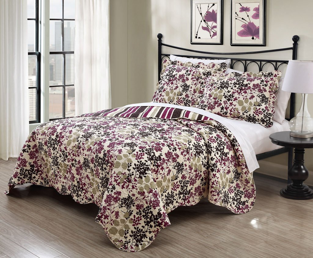 3 Piece King Juniper Chocolate/Plum Quilt Set