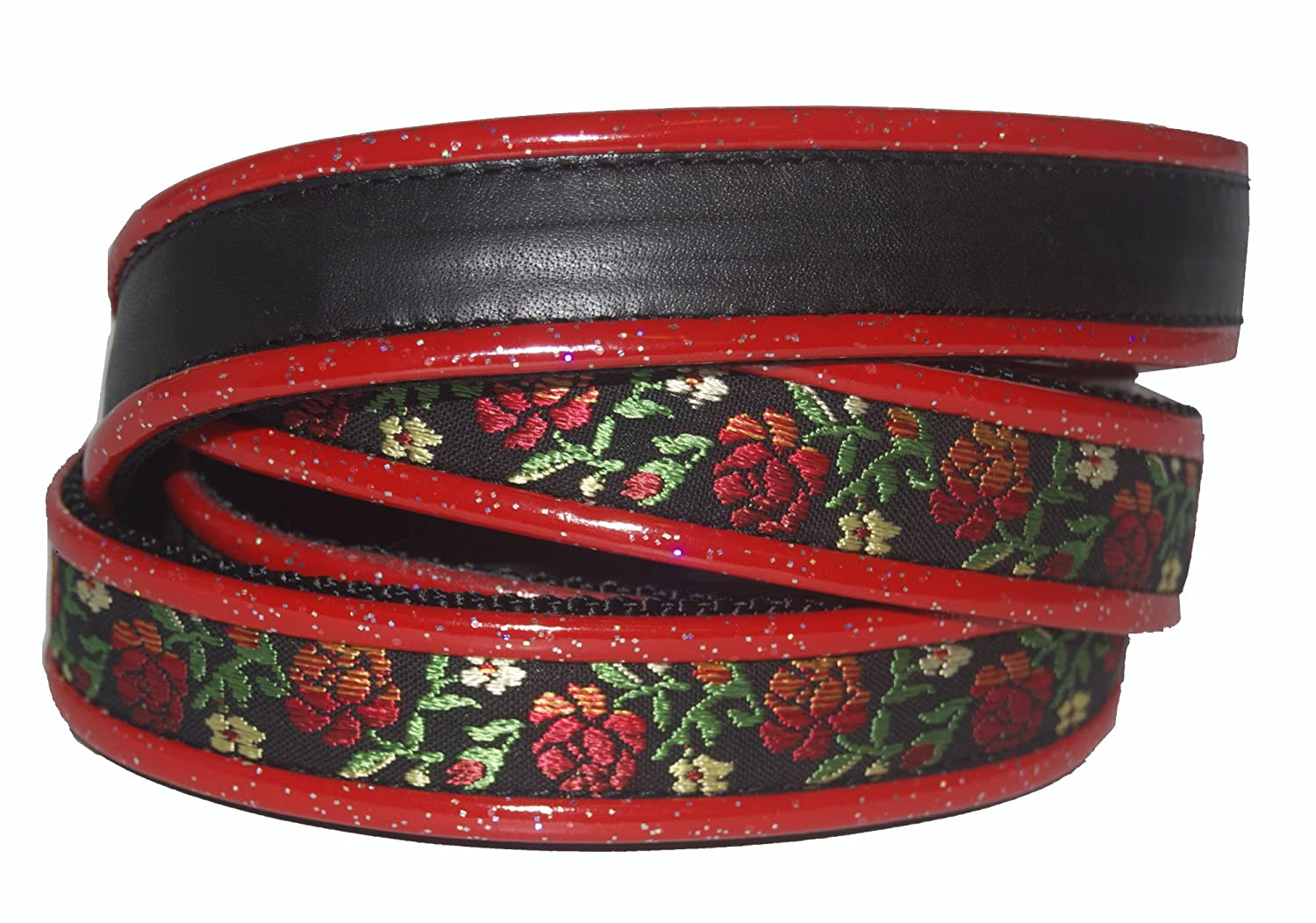 Jodi Head's RJ Cash Petwear Brocade Red pinks Dog Collar and Leash, Medium, Black with Red pinks, Green Leaves and Red Binding