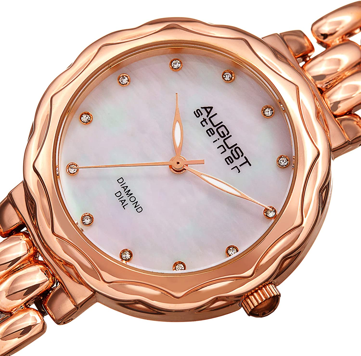 August Steiner AS8248 Diamond Women's Watch – Designer Stainless Steel Bracelet Band – Mother Diamonds Rose Gold Tone