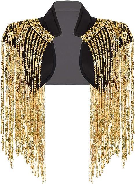 MSemis Chaqueta de Fiesta para Mujer Chaleco Brillantes Disfraz ...