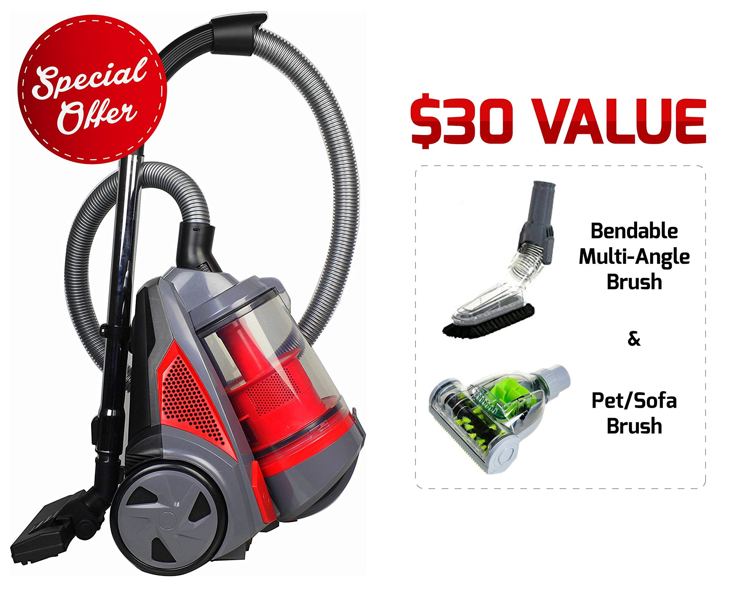 Ovente ST2620R Bagless Canister Cyclonic Vacuum - HEPA Filter - Includes Pet/Sofa, Bendable Multi-Angle, Crevice Nozzle/Bristle Brush, Retractable Cord - Featherlite - ST2620 Series, Red (Renewed)