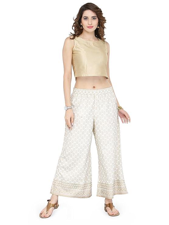 Varanga White Viscose Gold PrintPalazzoVARSS17123 Women's Churidar & Salwar Bottoms at amazon