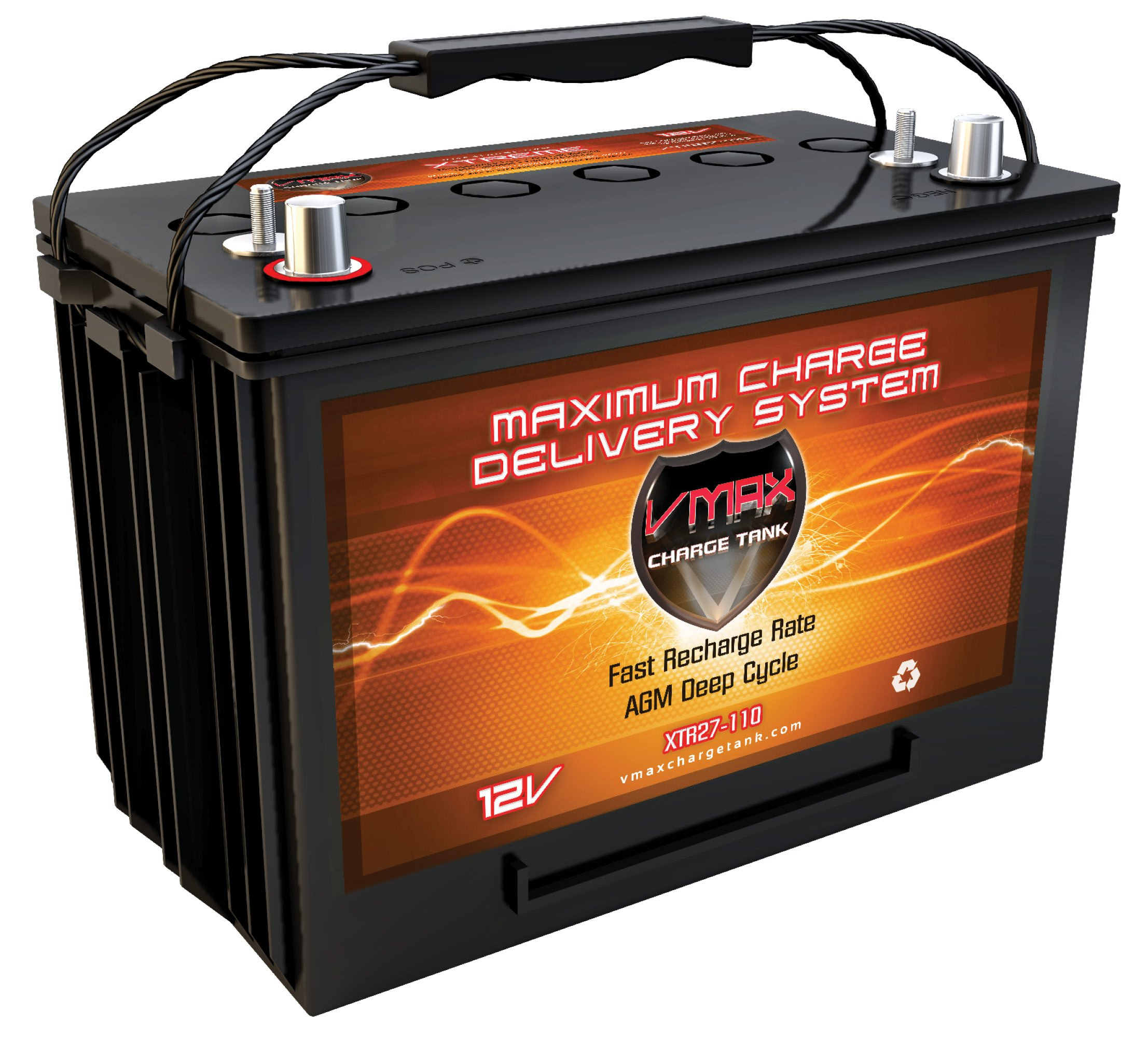 VMAX XTR27-110 AGM Marine Battery 12V 110Ah Group 27 Sealed Deep Cycle High Performance