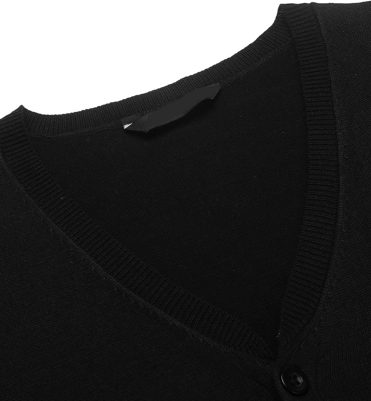 COOFANDY Herren West Strickweste Pullunder Slim fit V-Ausschnitt Knopfleiste Einfarbig Wollweste f/ür M/änner