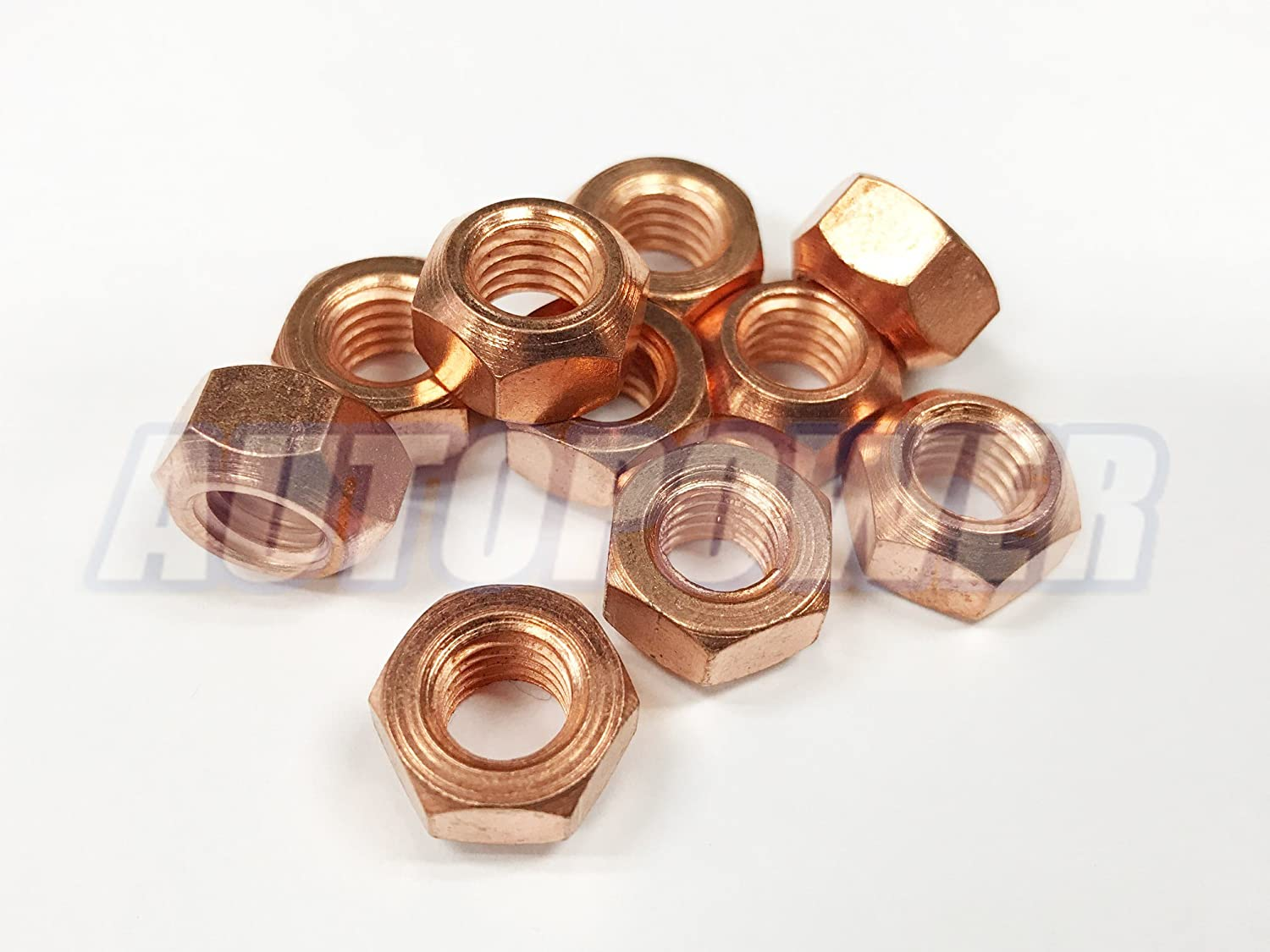 10x M8 Copper Flashed Exhaust Manifold 8mm Nut - High Temperature Nuts AutoPower