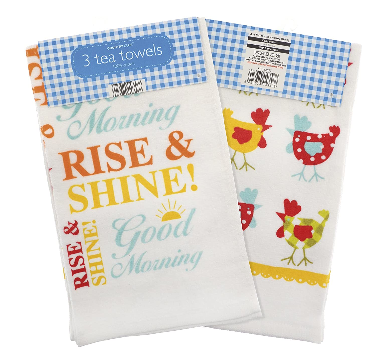Country Club 3 Pk Velour Wakey Wakey Teatowels Beamfeature