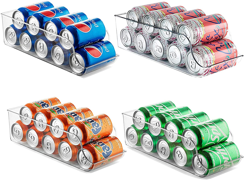 Set of 4 Refrigerator Organizer,Drink Soda Can Beverage Food Clear Plastic Holder for Fridge Freezer Cabinets Cupboard Kitchen …