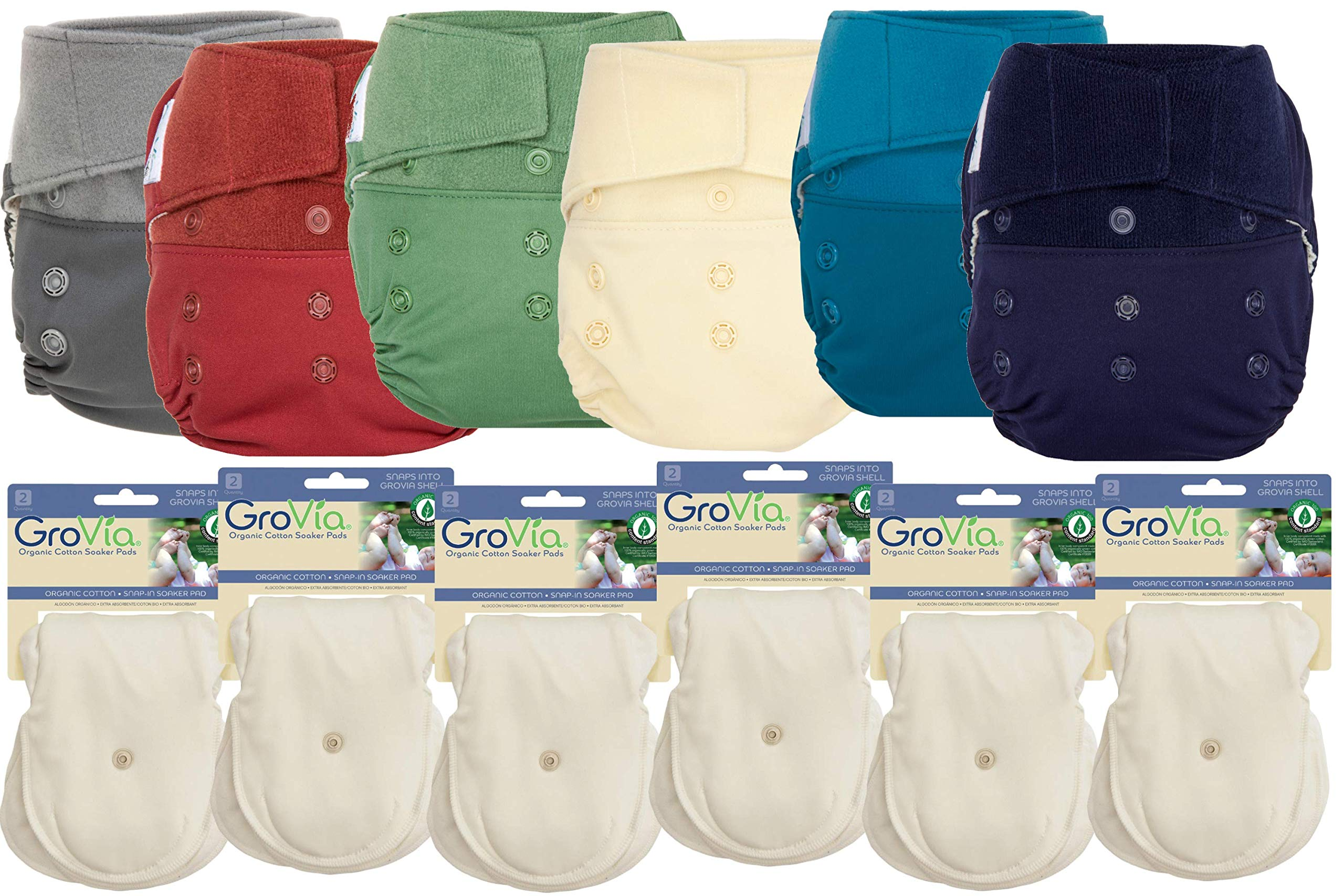 GroVia Hybrid Part Time Package: 6 Shells + 12 Organic Cotton Soaker Pads (Color Mix 7 - Hook & Loop)