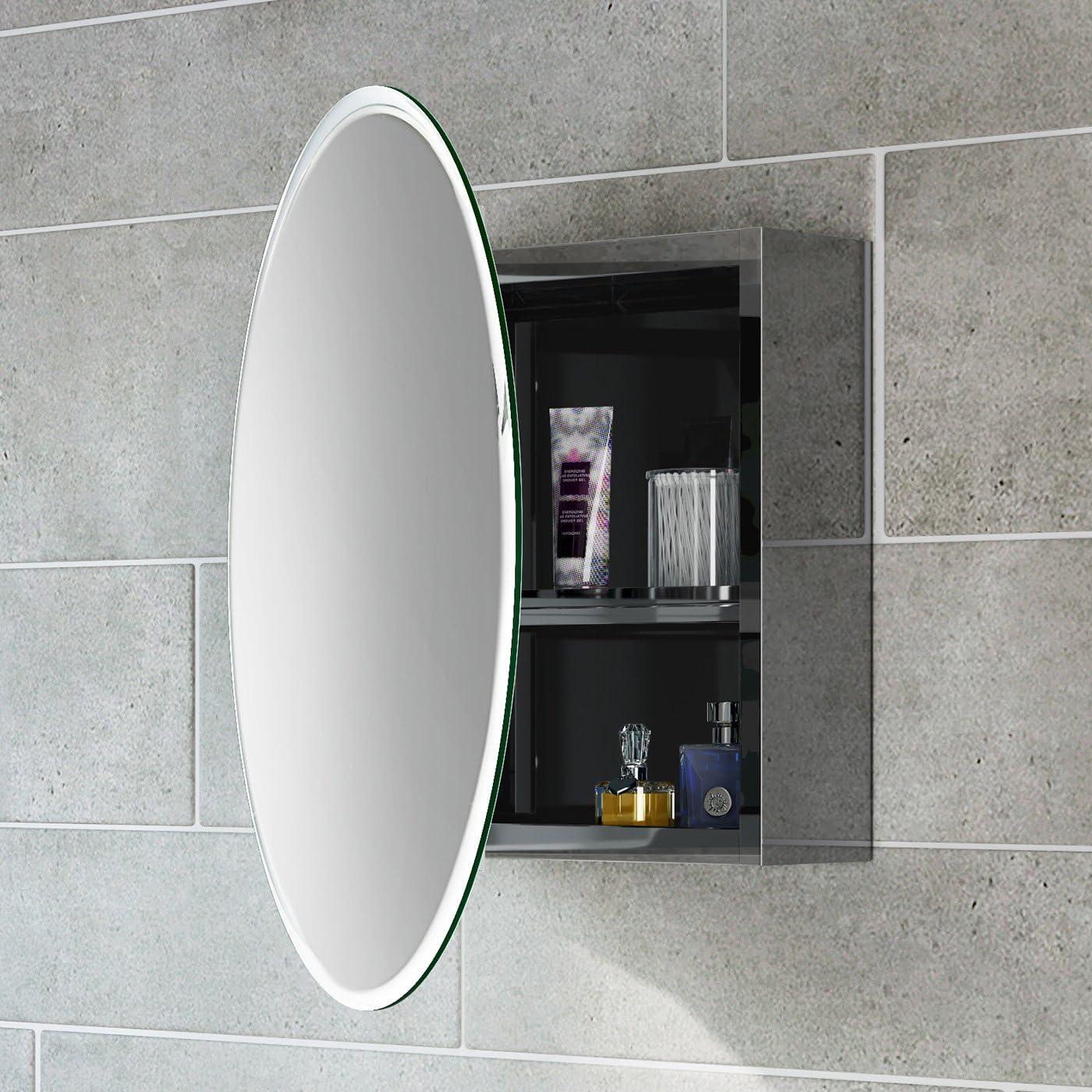 soak Moderner Spiegelschrank aus Edelstahl für das Badezimmer - Badschrank  mit Spiegel - 18 x 18 cm, eine Tür (rund), einfache Montage