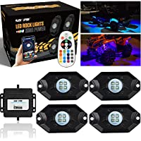 SUNPIE 4 Pods RGBW LED Rock Lights with Phone App/Remote Control & Timing & Music Mode & Flashing & Automatic Control…