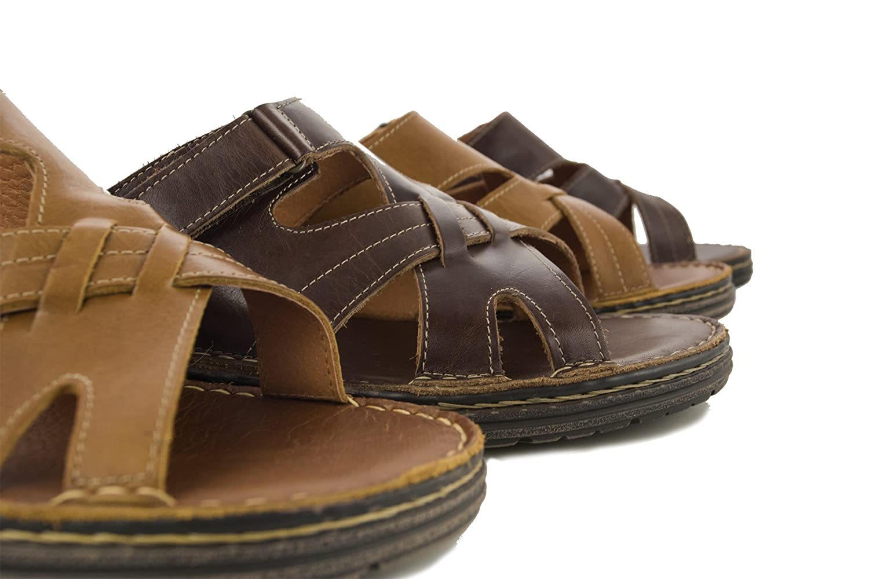 Zerimar Sommer Sandalen|Pantoletten aus Sandalen Leder Herren | Leder Sandalen aus | Qualitäts Sandalen Herren |Freizeit Schuhe Offen Dunkel Braun c87caf