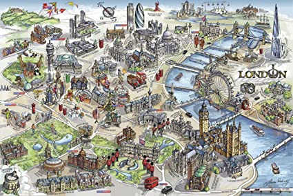 London Map Attractions.London Map Illustration Tourist Attractions Vacation Destinations Travel Tourism Poster 36x24 Inch