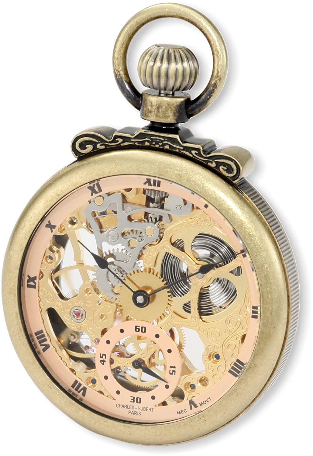 Charles-Hubert, Paris 3869-G Classic Collection Gold-Plated Antiqued Finish Open Face Mechanical Pocket Watch