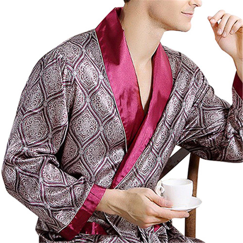 Orcan Bluce Pyjamas Mens Luxury Bathrobe Geometric Robes V-neck Imitation Silk Knitted Sleepwear Full Sleeve Nightwear